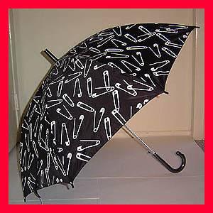 New Goth Punk Rock GOTHIC LOLITA 80s BLACK Safety Pin PARASOL Umbrella
