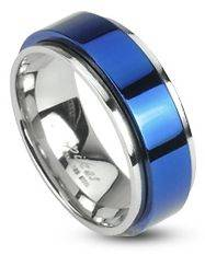 Stainless Steel 2 Tone Blue Spinner Ring Band 6mm 8mm Size 5   13