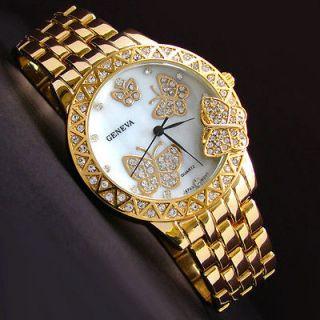 GOLD 3D Butterfly Dial Crystal Bezel Geneva Designer Style Womens