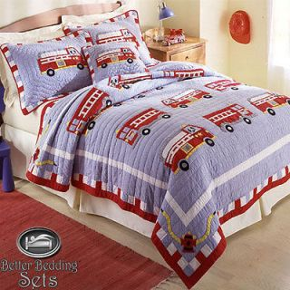 Boy Children Kid Fire Truck Engine Quilt Bedding Set For Twin Full
