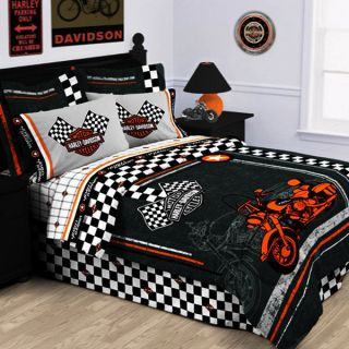 HARLEY DAVIDSON RACING FLAG FULL QUEEN COMFORTER SET TEEN BOY