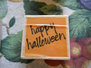 Rubber Stamp Saying Quote Phrase Happy Halloween Words Writing Script