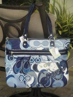 COACH POPPY POP C DENIM GLAM TOTE PURSE BAG TOTE BLUE JEAN WHITE $278