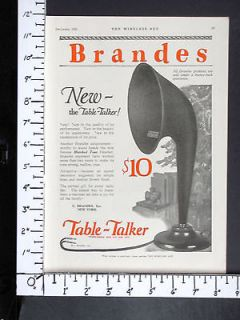 1923 BRANDES Table Talker Radio Receiver Horn Speaker magazine Ad