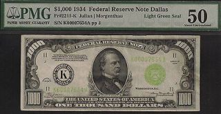 1934 $1000 ONE THOUSAND DOLLAR BILL FEDERAL RESERVE NOTE FRN PCGS