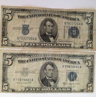 1953 B BLUE SEAL 2 Five DOLLAR BILLs Silver Notes RARE U.S. CURRENCY