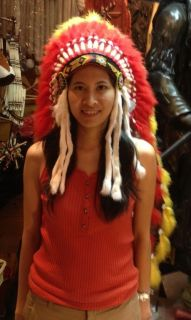 Yellow Red Indian Headdress Costume Ostrich Feather War Bonnet