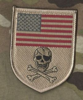 USMC MARINES FORCE RECON OPERATOR VELCRO SHIELD PATCH: US FLAG SKULL