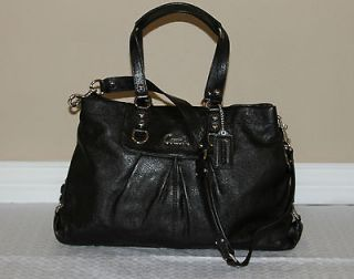 NEW COACH ASHLEY Black Leather Satchel Carryall Bag Handbag Purse $