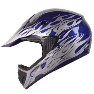 Blue Silver Flame Motocross ATV Dirt Bike Open Face Helmet DOT size