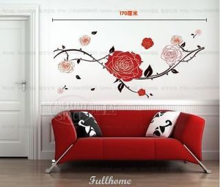 Removable Lots RED Rose TREE brown room decal vinvy Mural decor art