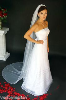 Cord RHINESTONE Cathedral/Chapel Wedding Bridal Long Veil Train 90rt