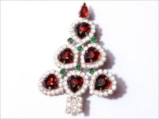 VINTAGE CZECH RHINESTONE CHRISTMAS TREE PIN BROOCH WITH FACETED