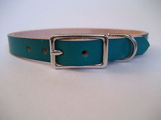 green leather dog collar in Leather Collars