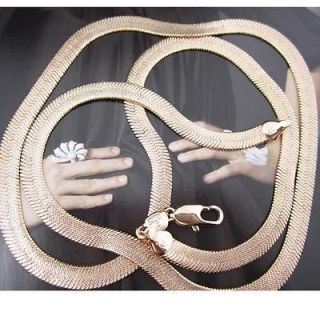 24 18k rose gold filled necklace mens snake bone chain link jewelry