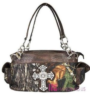 MOSSY OAK CAMO CAMOUFLAGE BROWN RHINESTONE CROSS WESTERN PURSE HANDBAG
