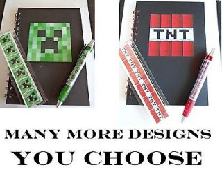 Minecraft Stationary Set   Notebook + Pen + Ruler   Lots Of Designs