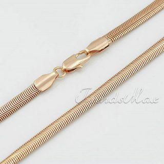 4MM Mens Womens Rose Gold Filled Snake Herringbone Necklace Link Chain