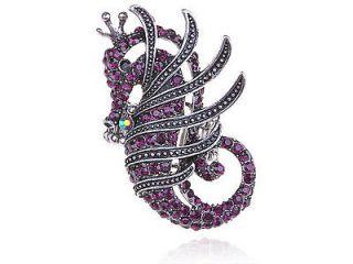 Royal Amethyst Purple Crystal Rhinestone Crown King Seahorse Ocean
