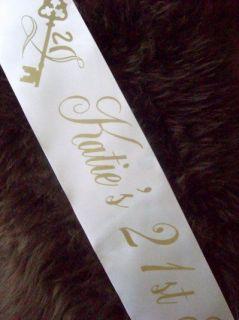 PERSONALISED 21st BIRTHDAY PARTY GIFT SATIN SASH ANY WORDING WHITE