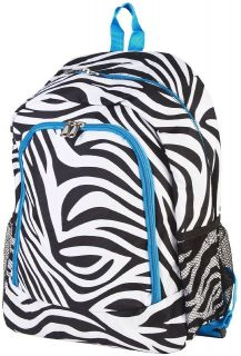 16.5 Black & White Zebra Animal Print Blue Trim Padded Backpack