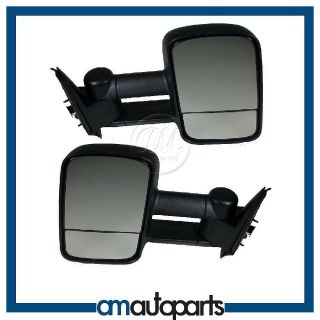Chevy GMC Truck Towing Black Manual Side View Door Mirrors Left