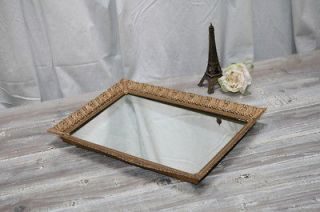 Vintage Gilt Vanity Mirror Tray or Wall Mirror 12.5 by 8.5