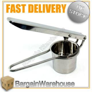 Stainless Steel Chrome Hand Held Potato Masher Ricer Fruit Juice Press