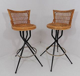 Set of Two wicker chair rattan & metal spider legs swivel bar stools