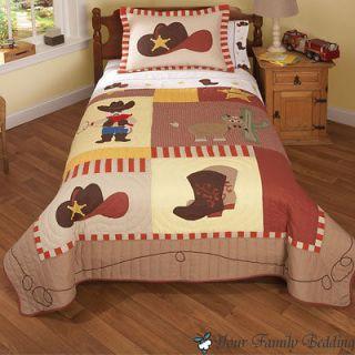 Western Cowboy Hat Horse Pony Boy Children Kid Quilt Bedding Set Twin
