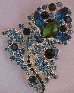 Style BLUE & GREEN Swarovski Crystal GLOWER Brooch Wedding Bouquet