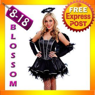 G22 Gothic Dark Fallen Angel Fancy Dress Halloween Costume, Halo