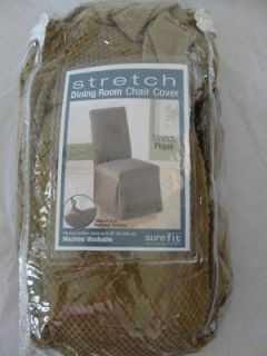 NEW Sure Fit Stretch Pique Dining Room Chair Covers Taupe