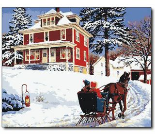 Vtg paint by numbers 16*20 kit DIY painting Merry Christmas Free
