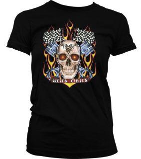 Wild Child Skull Flames Piston Race Tattoo Gothic Death Girls Juniors
