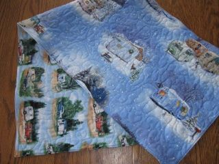 Handmade Quilted Table Runner Christmas Travel Shasta Trailers Vintage