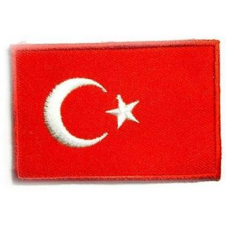 I0025 Turkey Turkish Flag 2x3 Sew or Iron On Patch Embroidered