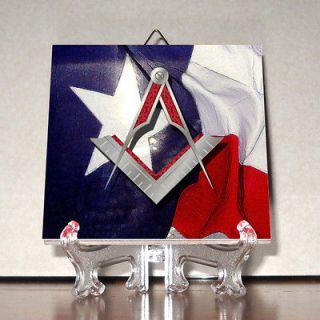 Square and Compass TEXAS Flag Ceramic Tile Masonic Freemasonry Masonry