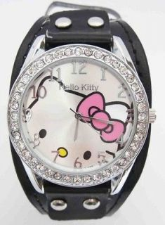 Piece Hello Kitty Swarovski Children Wrist Watch Fashion Clock A8