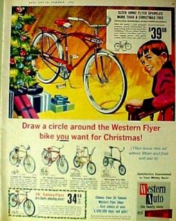 1965 Western Auto Flyer Boys~Kids Bicycles/Bikes Christmas Promo Trade