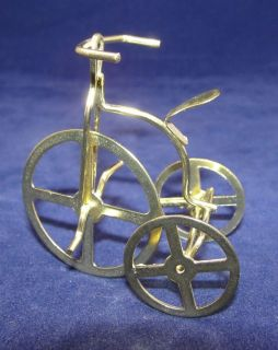 Vtg 2.3 Gold Metal High Wheel Bicycle Tricycle Christmas Ornament or