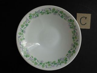 ARCOPAL FRANCE Glass CEREAL SALAD SOUP BOWL White Purple Petunias
