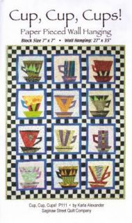 Cups, Cups, Cups Pattern to Make, Paper Pieced Wall Hanging to Make