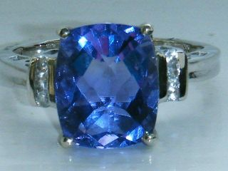 UK HALLMARKED 9CT WHITE GOLD BLUE TOPAZ & DIAMOND RING SIZE N