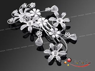Handmade Bridal Tiara Hair Comb Rhinestone Flower Floral Vine Wedding