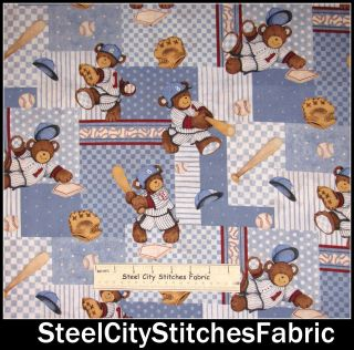 At Bat Patch Nursery Baby Boy Baseball Teddy Bear Cotton Fabric YARD