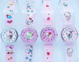 Mix Wholesale 4 pcs Boy Girl Hello Kitty Child Sport Wrist Watch Time