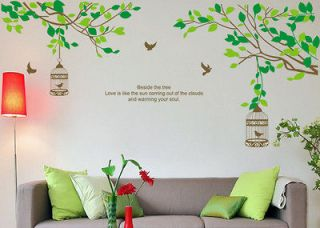 Beautiful Flower Tree Birds Bed Room Decal Decor Mural Wall Stickers