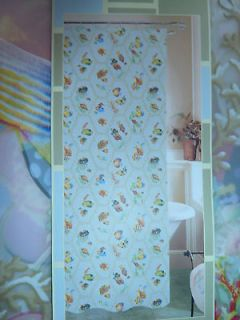 COLORFUL TROPICAL FISH VINYL (PEVA) SHOWER CURTAIN W/ COORDINATING