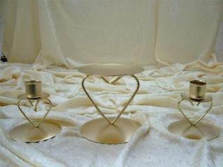 Heart Wedding Unity Candle Ceremony Holder Set Bridal Metal Metalic